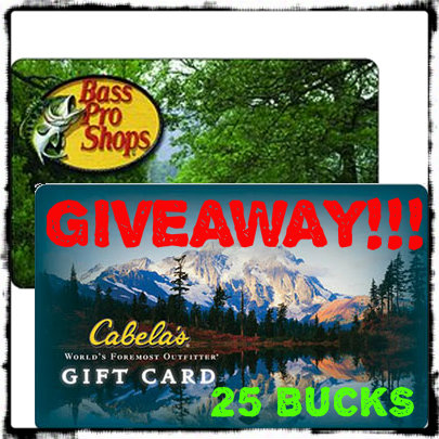"The ""Your Choice"" Giveaway- $25 Gift Card to Cabelas or Bass Pro ..."